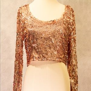 Long sleeve Rose gold Crop top (S)